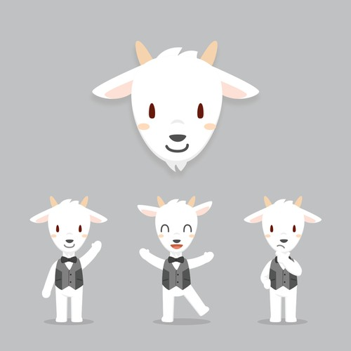 A friendly and cute Goat character design