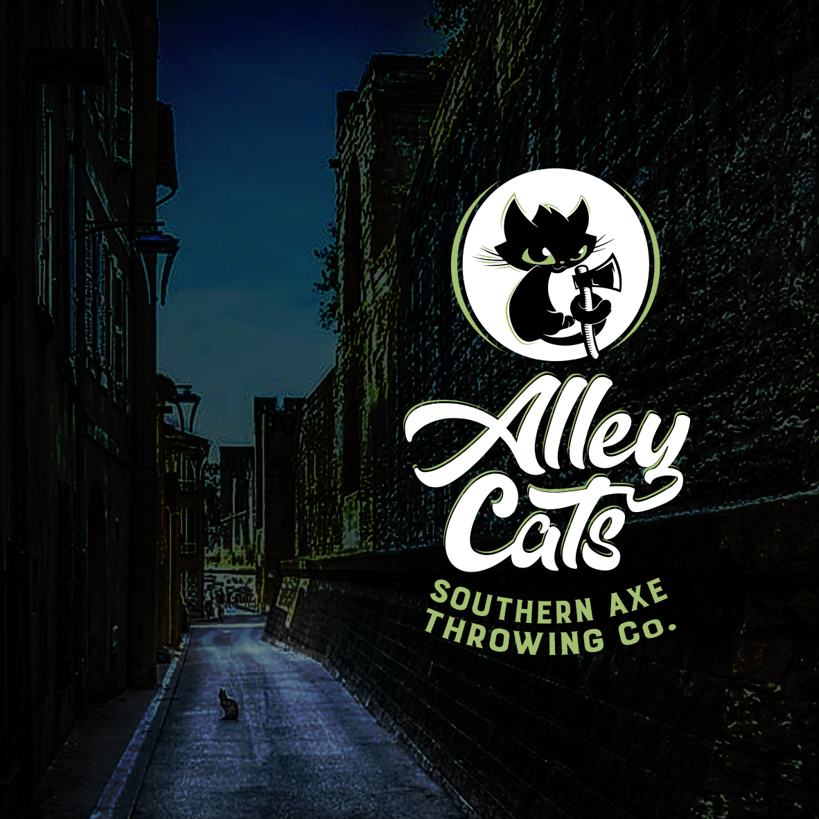 Facebook cover and logo with alley scene behind it
