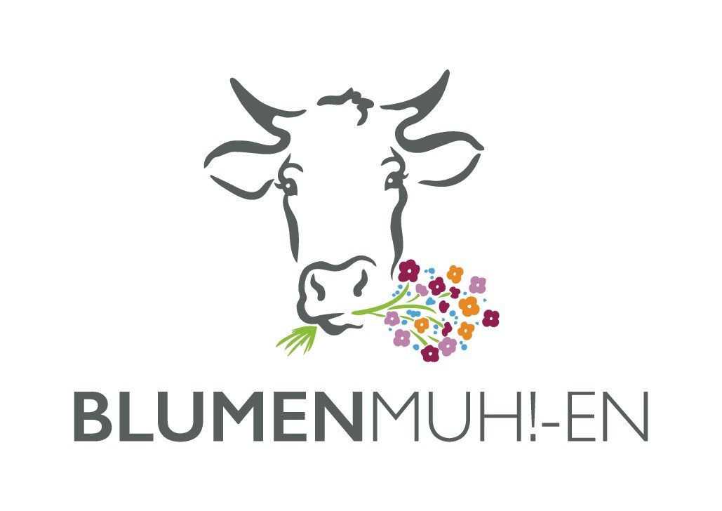 Blumen Muh!-en , Logo für ein Blumenladen in ehemaligem Kuhstall in Muhen