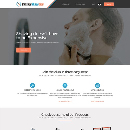Landing Page for ContourShaveClub
