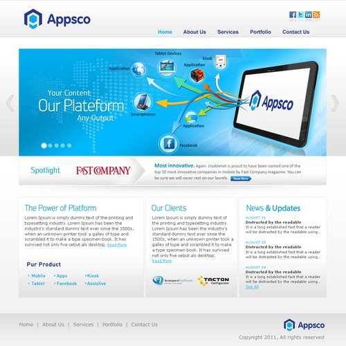 New website design wanted for Appsco