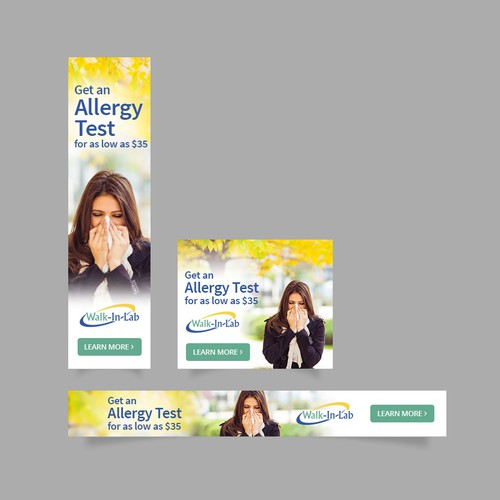 Banner ads for an allergy testing company
