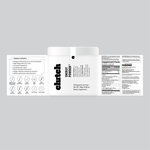 Packaging for energy powder supplement