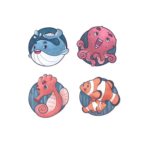 Sea Animal Illustrative Icons