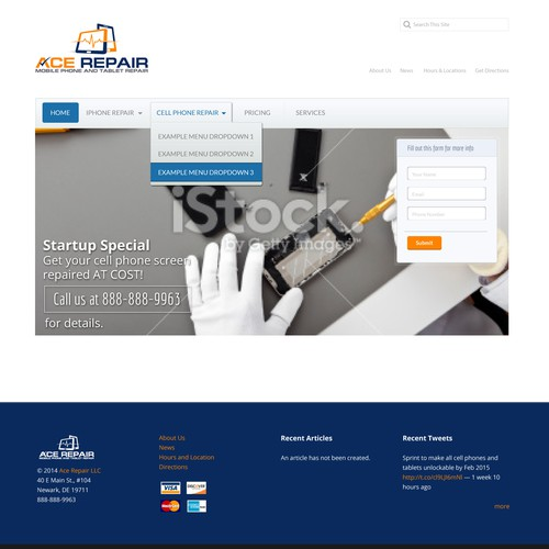 Web Page Design for Ace Repair