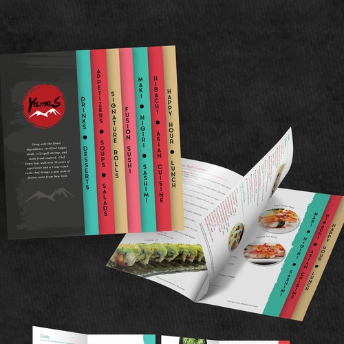 Clean, creative and modern sushi menu