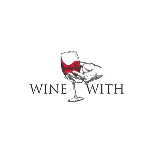 Hand drawn logo for a wine bar