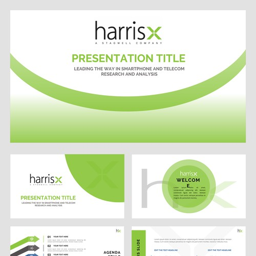 Create a sleek PP Presentation template for HarrisX