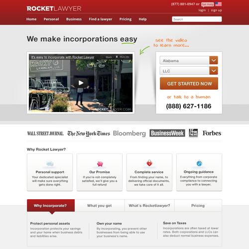 Create the next website design for rocketlawyer.com