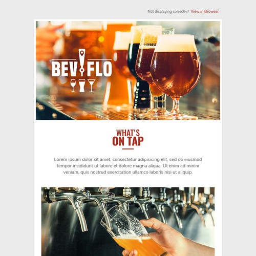 Newsletter design for an alcohol distribution company