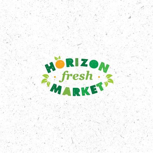 Horizon Market Local Fresh Market Logo Concept