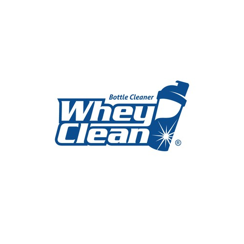 Create a clean and edgy logo for start up sports nutrition bottle cleaner WheyClean