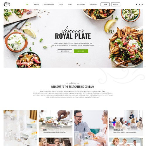 Creative Catering Service Food Industry Homepage Design