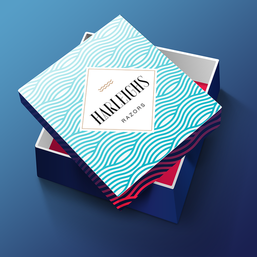 Box design for luxurious razors brand