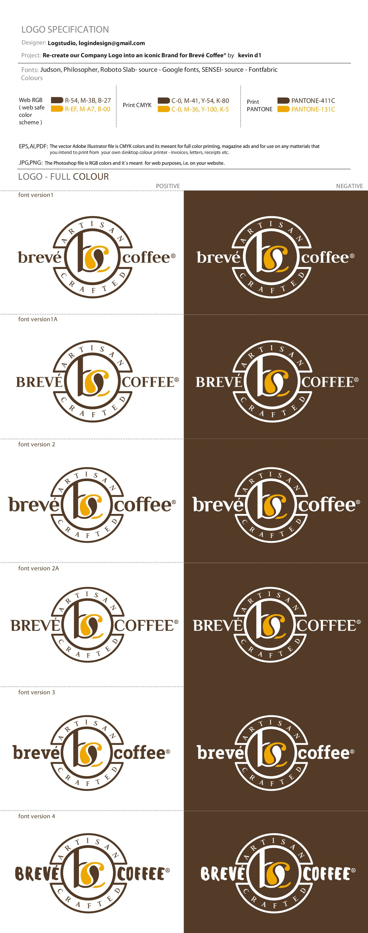 Re-create our Company Logo into an iconic Brand for Brevé Coffee®