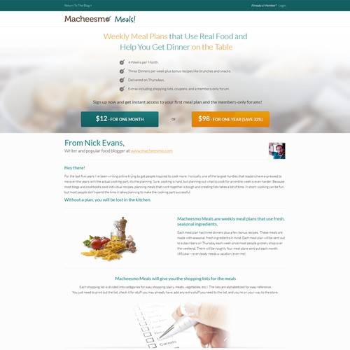 Landing Page Deisgn for Macheesmo Meals