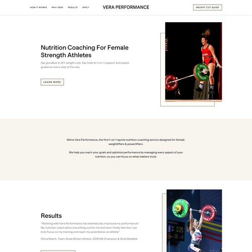 Vera Performance Sports Nutrition Coaching Website
