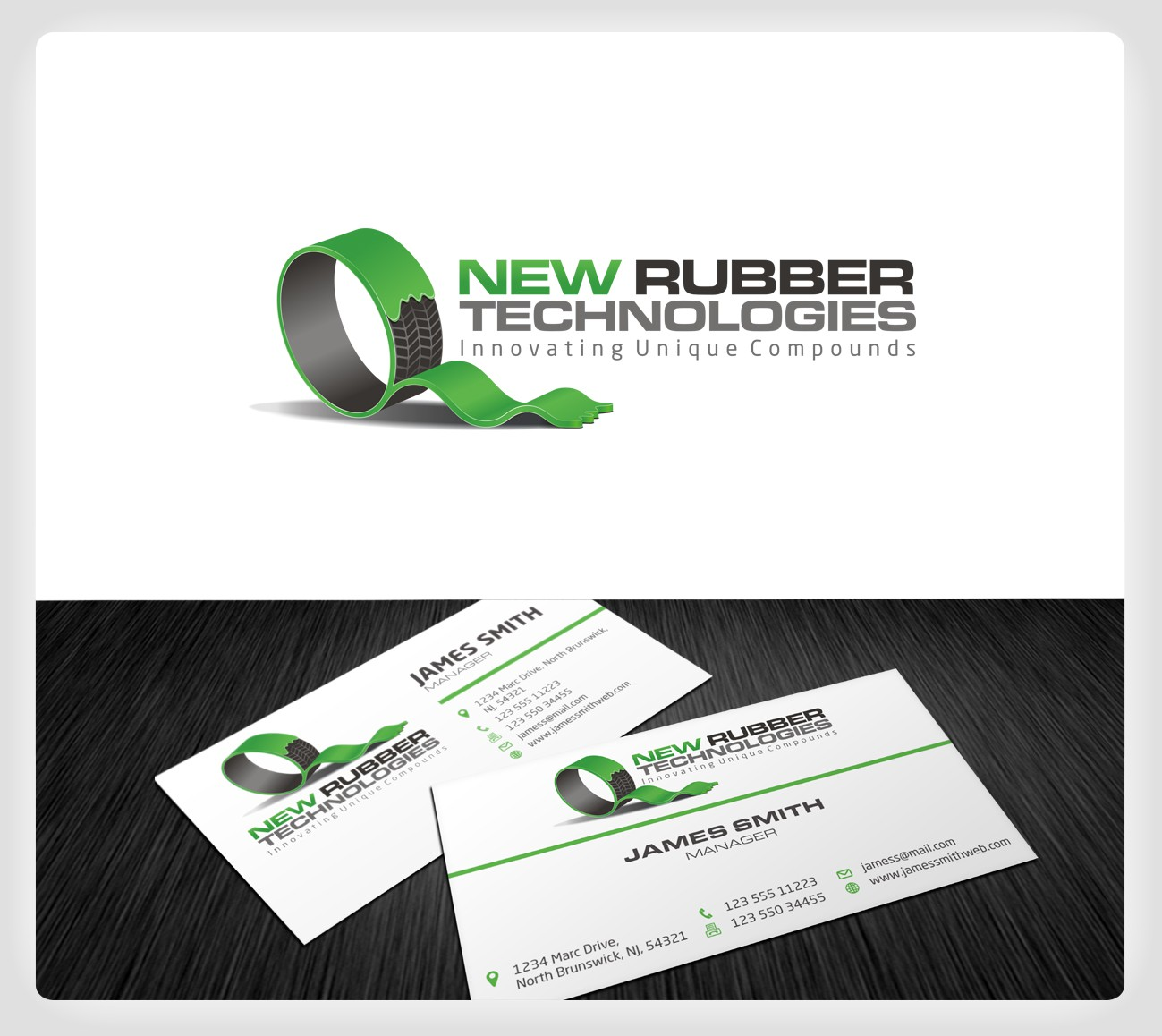 """New logo and business card wanted for New Rubber Technologies or """"NRT"""""""