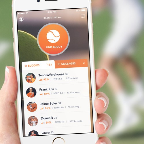 Social Network for Tennis Players App Concept