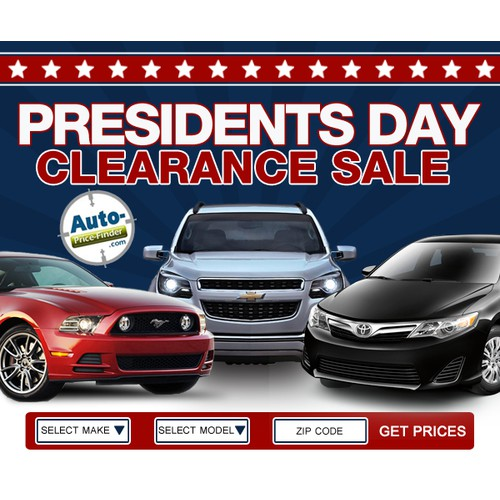 Banner ad for a Cool Automotive Company - Presidents Day Banner Ad