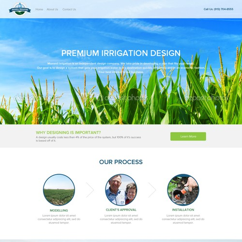 Create a beautiful and immersive website design for Maxwell Irrigation