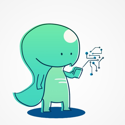 Cute Brainy Dinosaur Character for AI Analysis