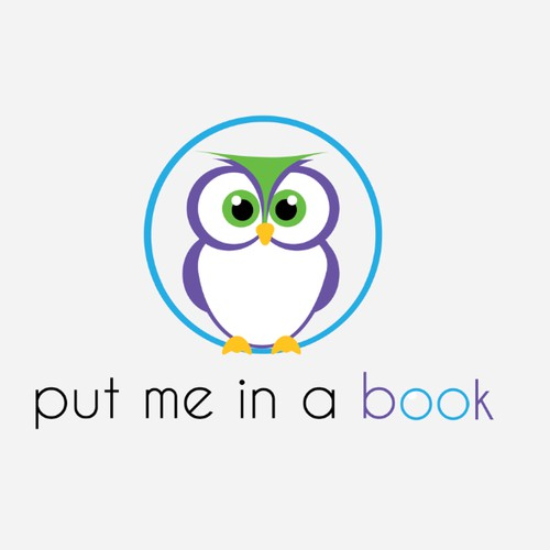 "Create a playful logo for our children's book company ""putmeinabook"""