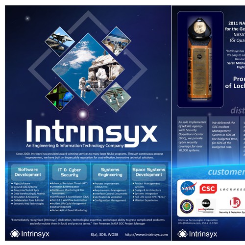 Intrinsyx Technologies Corporation needs a new print or packaging design