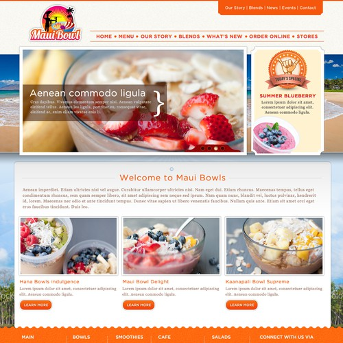 Create the next website design for Maui Bowl