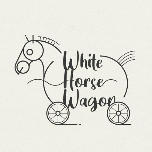 logo design for white horse wagon