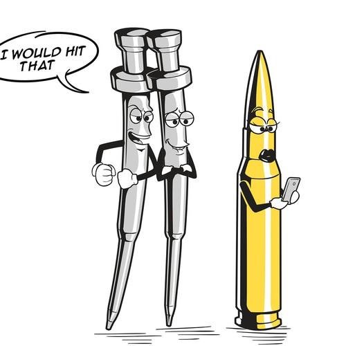 cartoon of firing pins and bullet