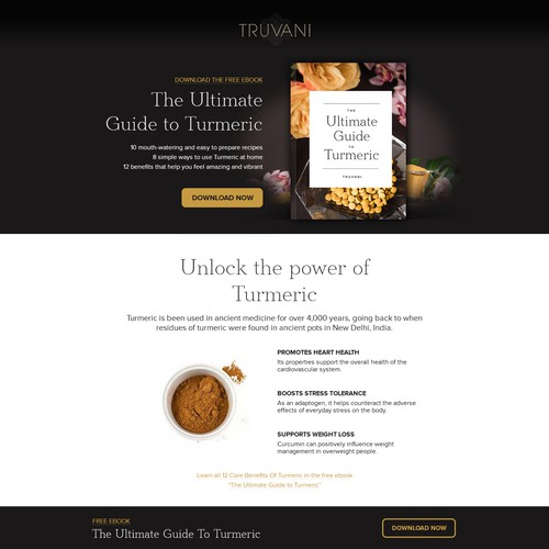 Truvani Landing Page Concept