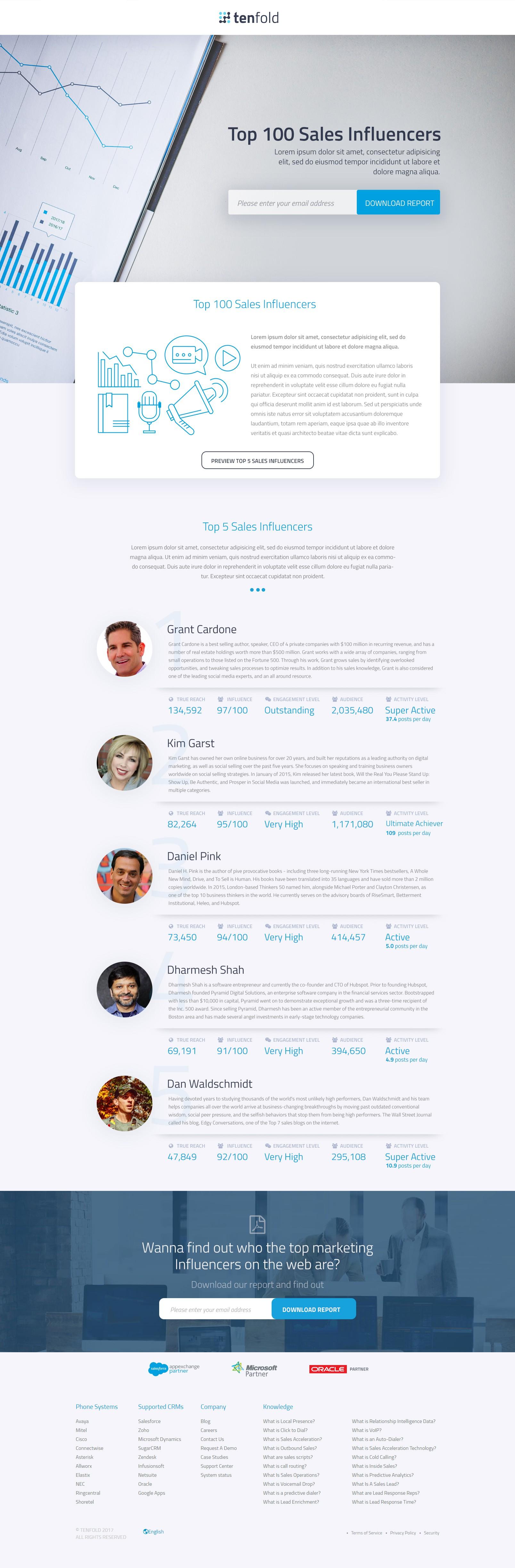 """Top 100 Sales Influencers"" landing page"