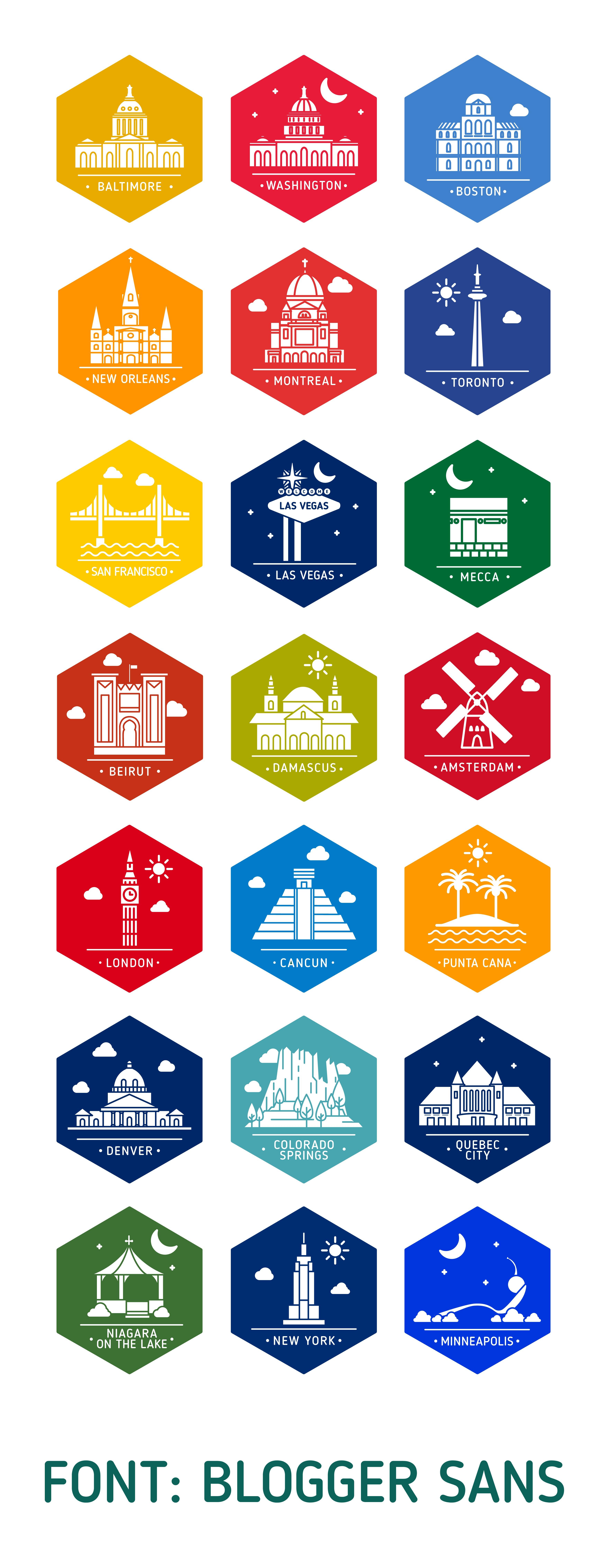 City Stickers Design