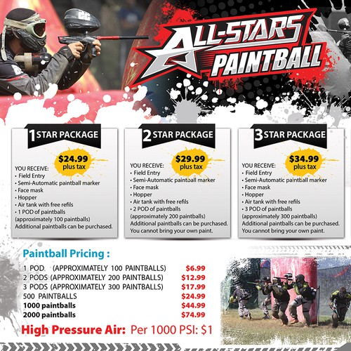Digital Flyer for paintball field