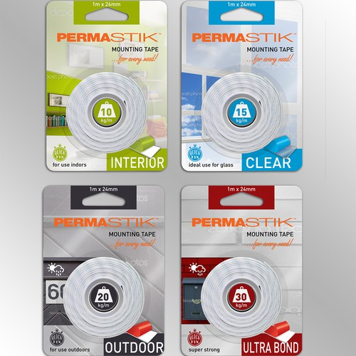 Mounting Tapes Packaging, design a range within a range, bright and eye catching!