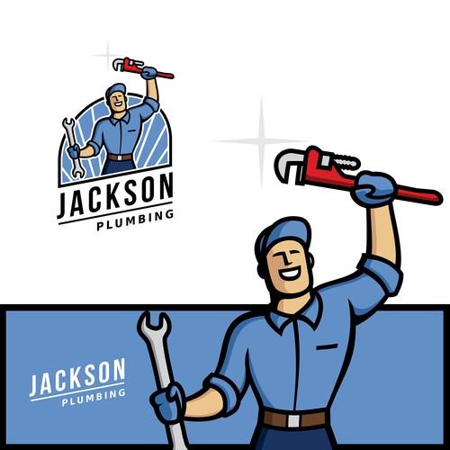 cartoon 60's mascot logo of man holding shovel