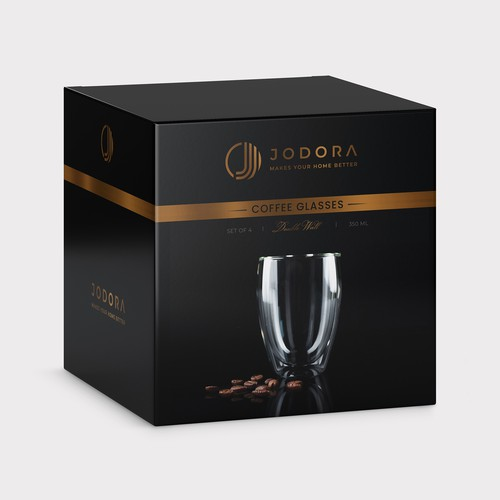 JODORA Coffee glasses packaging design