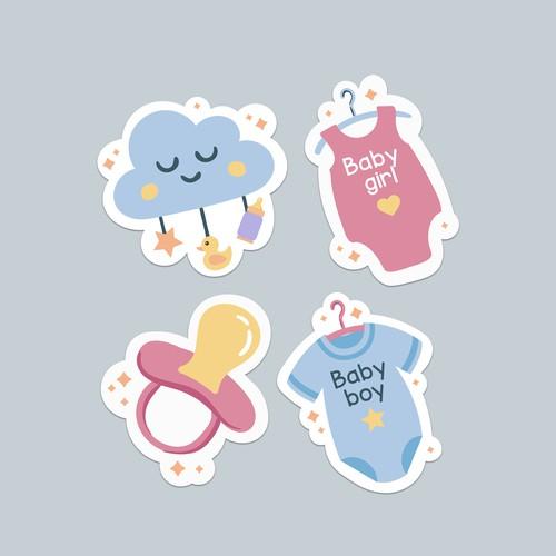 Babyshower sticker set