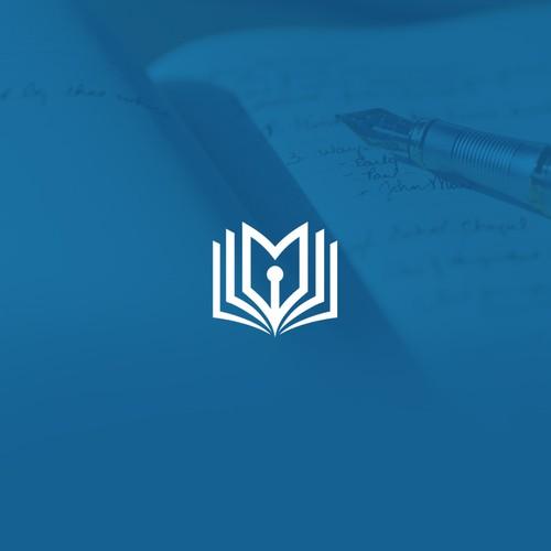 Minimal book writer logo.