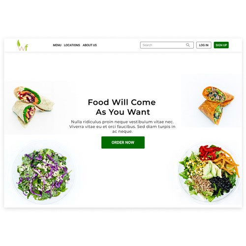Landing Page Design for Healthy Fast Casual Dining Concept