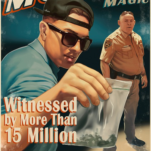 Vintage MAGIC POSTER- Magician tries to sell weed to cops