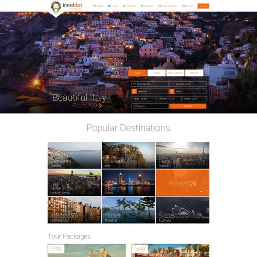 Homepage design for a travel agency