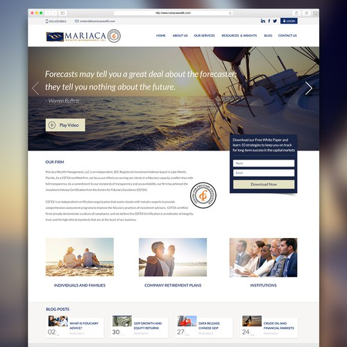 Website design for Mariaca Wealth Management