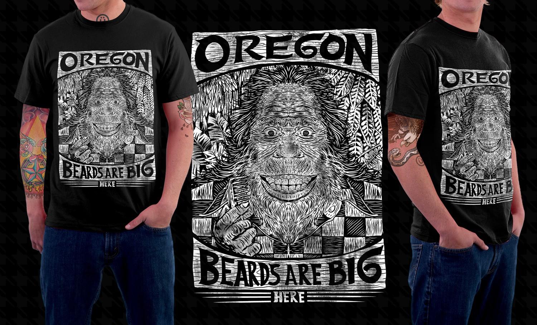 Bust of Bigfoot with a Beard T-shirt