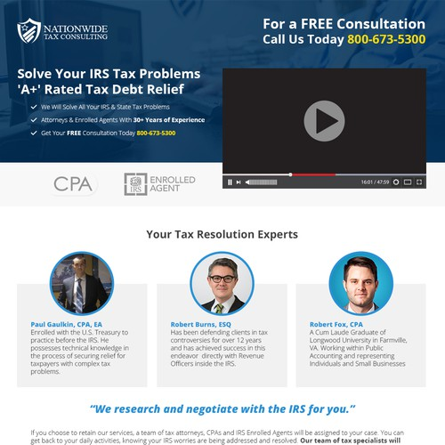 Nationwide Tax Consultating Landing Page