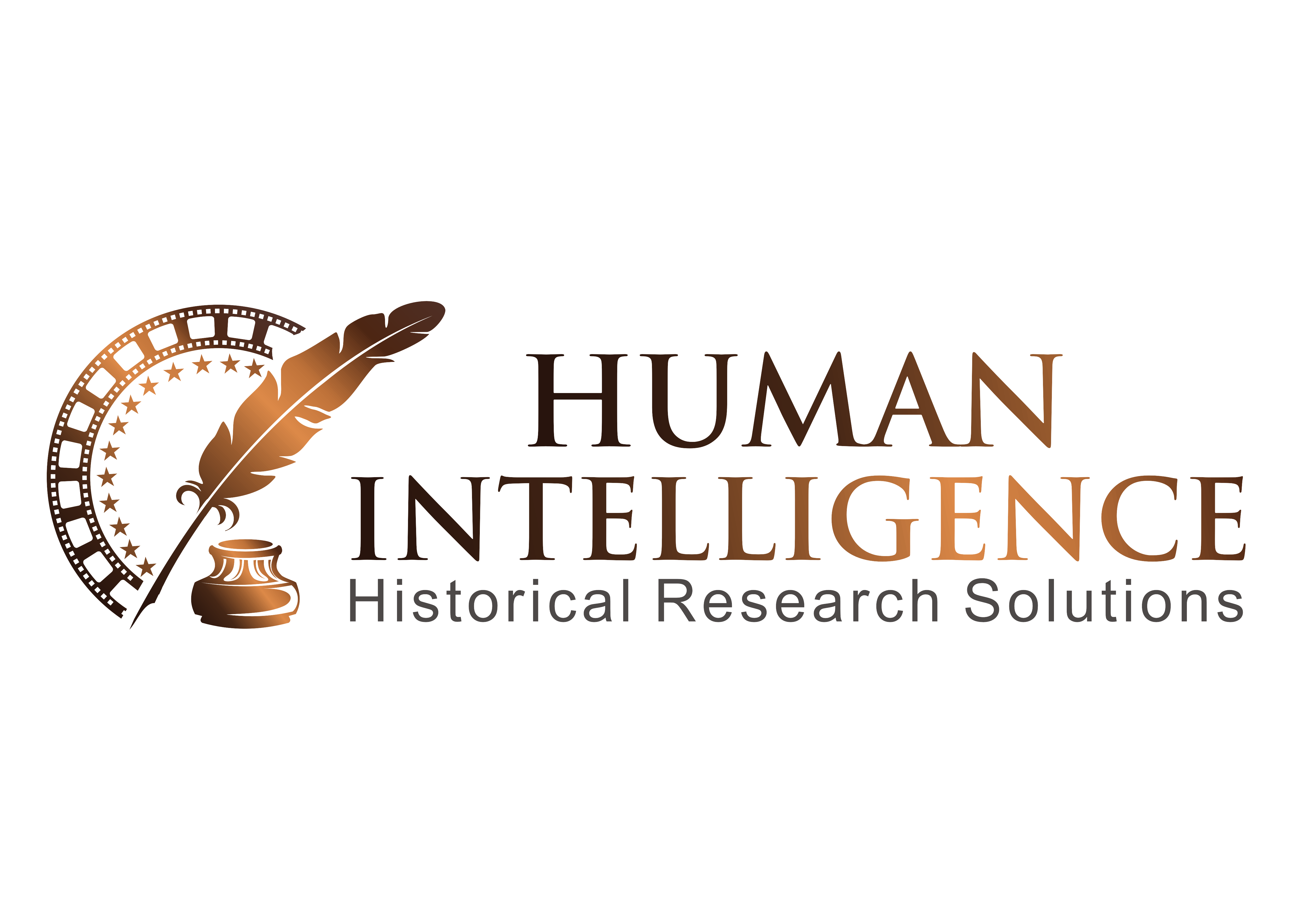 Create a sleek logo for Human Intelligence LLC. Historical research for the entertainment industry.