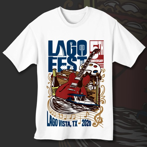 Austin, TX music & arts festival 2020 t-shirt design - Lago Fest