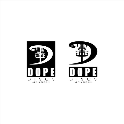 dope disc logo black white only