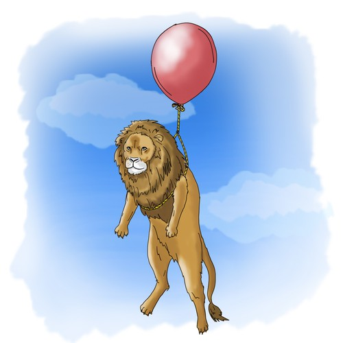 Floating animal with balloon